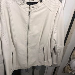 (Real leather) leather coat - new - white